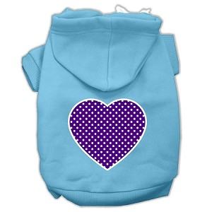 Purple Swiss Dot Heart Screen Print Pet Hoodies Baby Blue Size Sm (10)