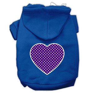 Purple Swiss Dot Heart Screen Print Pet Hoodies Blue Size Med