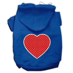 Red Swiss Dot Heart Screen Print Pet Hoodies Blue Size Sm (10)