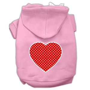 Red Swiss Dot Heart Screen Print Pet Hoodies Light Pink Size Lg (14)