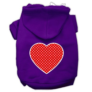 Red Swiss Dot Heart Screen Print Pet Hoodies Purple Size Sm (10)