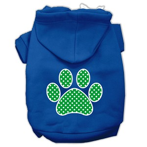 Green Swiss Dot Paw Screen Print Pet Hoodies Blue Size XS (8)