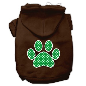 Green Swiss Dot Paw Screen Print Pet Hoodies Brown Size XS (8)