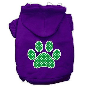 Green Swiss Dot Paw Screen Print Pet Hoodies Purple Size Med (12)