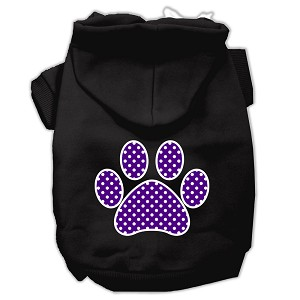Purple Swiss Dot Paw Screen Print Pet Hoodies Black Size XS (8)
