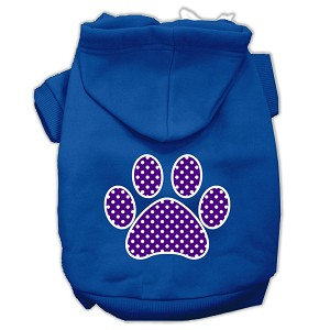 Purple Swiss Dot Paw Screen Print Pet Hoodies Blue Size Lg (14)