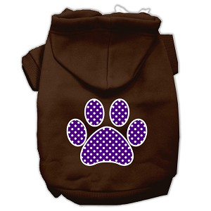 Purple Swiss Dot Paw Screen Print Pet Hoodies Brown Size XXXL (20)