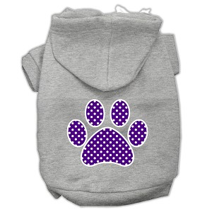 Purple Swiss Dot Paw Screen Print Pet Hoodies Grey Size Sm (10)