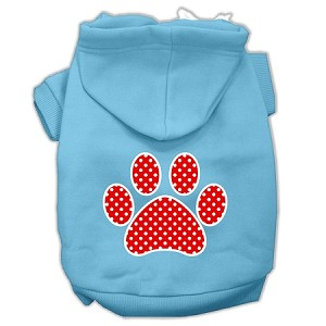 Red Swiss Dot Paw Screen Print Pet Hoodies Baby Blue Size XL (16)