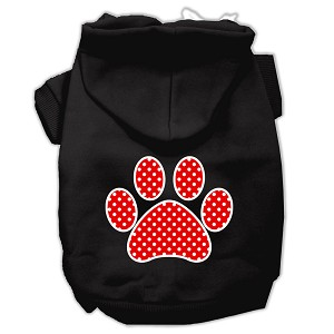 Red Swiss Dot Paw Screen Print Pet Hoodies Black Size XL (16)
