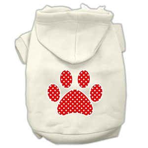 Red Swiss Dot Paw Screen Print Pet Hoodies Cream Size XXL (18)