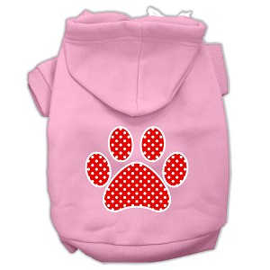 Red Swiss Dot Paw Screen Print Pet Hoodies Light Pink Size Lg (14)