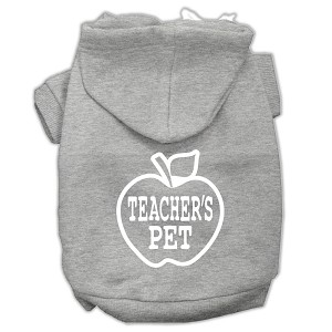 Teachers Pet Screen Print Pet Hoodies Grey Size M (12)