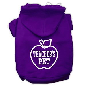 Teachers Pet Screen Print Pet Hoodies Purple Size S (10)