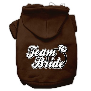 Team Bride Screen Print Pet Hoodies Brown Size Sm (10)