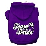 Team Bride Screen Print Pet Hoodies Purple Size XS (8)