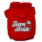 Team Bride Screen Print Pet Hoodies Red Size XS (8)