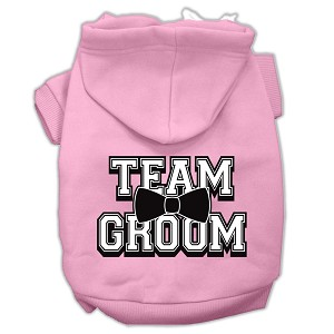 Team Groom Screen Print Pet Hoodies Light Pink Size Med (12)