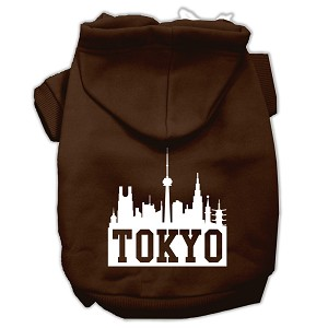 Tokyo Skyline Screen Print Pet Hoodies Brown Size Lg (14)