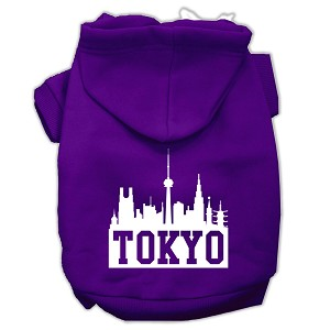 Tokyo Skyline Screen Print Pet Hoodies Purple Size Lg (14)