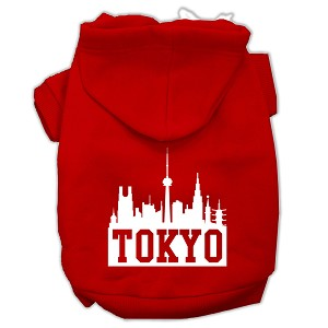 Tokyo Skyline Screen Print Pet Hoodies Red Size Lg (14)
