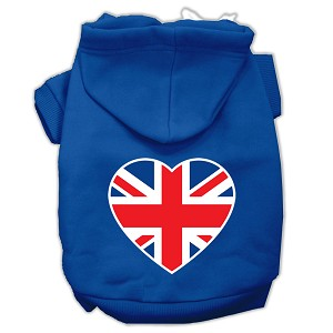 British Flag Heart Screen Print Pet Hoodies Blue Size XXL (18)