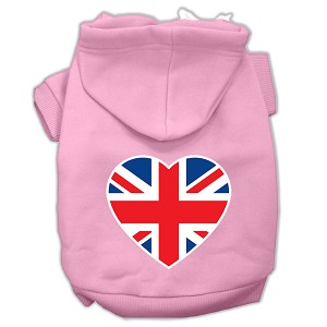 British Flag Heart Screen Print Pet Hoodies Light Pink Size XXL (18)