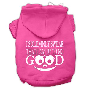 Up to No Good Screen Print Pet Hoodies Bright Pink Size Lg (14)