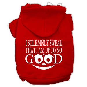 Up to No Good Screen Print Pet Hoodies Red Size Lg (14)
