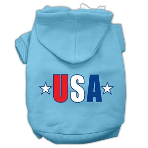 USA Star Screen Print Pet Hoodies Baby Blue Size Med (12)