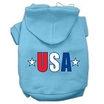 USA Star Screen Print Pet Hoodies Baby Blue Size XS