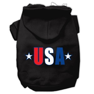 USA Star Screen Print Pet Hoodies Black Size Med (12)