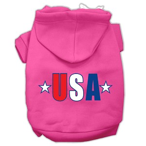 USA Star Screen Print Pet Hoodies Bright Pink Size Sm (10)