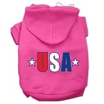 USA Star Screen Print Pet Hoodies Bright Pink Size XS