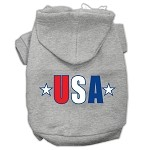 USA Star Screen Print Pet Hoodies Grey Size XS