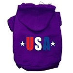 USA Star Screen Print Pet Hoodies Purple Size XS
