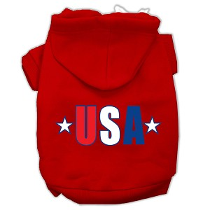 USA Star Screen Print Pet Hoodies Red Size Med (12)