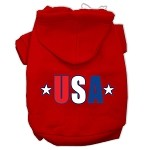 USA Star Screen Print Pet Hoodies Red Size XS