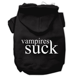 Vampires Suck Screen Print Pet Hoodies Black Size S (10)