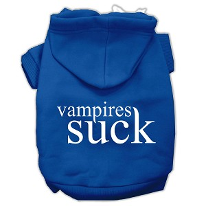 Vampires Suck Screen Print Pet Hoodies Blue Size XL (16)