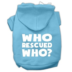 Who Rescued Who Screen Print Pet Hoodies Baby Blue Size Med (12)