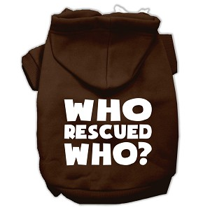 Who Rescued Who Screen Print Pet Hoodies Brown Size Med (12)