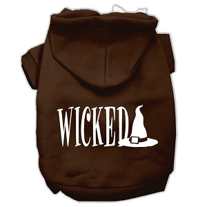 Wicked Screen Print Pet Hoodies Brown Size XL (16)