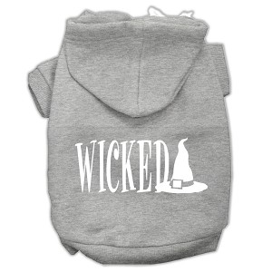 Wicked Screen Print Pet Hoodies Grey Size XS (8)