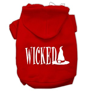 Wicked Screen Print Pet Hoodies Red Size M (12)