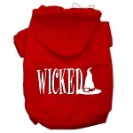 Wicked Screen Print Pet Hoodies Red Size XS (8)