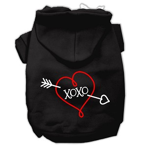 XOXO Screen Print Pet Hoodies Black Size XS (8)