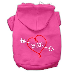 XOXO Screen Print Pet Hoodies Bright Pink Size Med (12)
