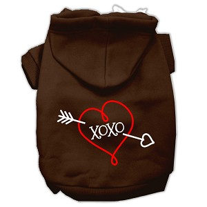 XOXO Screen Print Pet Hoodies Brown Size Med (12)