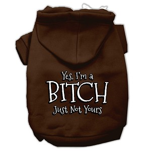 Yes Im a Bitch Just not Yours Screen Print Pet Hoodies Brown Size Lg (14)